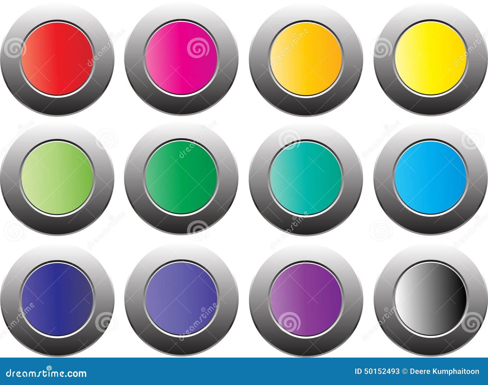 Покрасьте кнопку на белой предпосылке, изолированной для вебсайта, реклама, социальный маркетинг