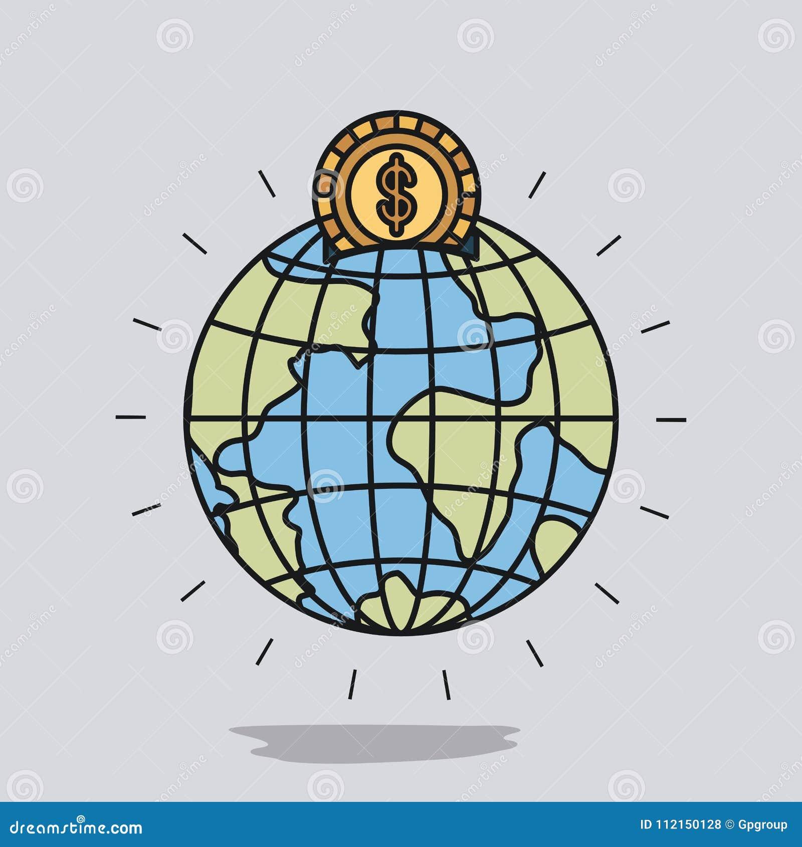 Покрасьте предпосылку изображения с денежным ящиком в форме мира земли глобуса с золотой монеткой