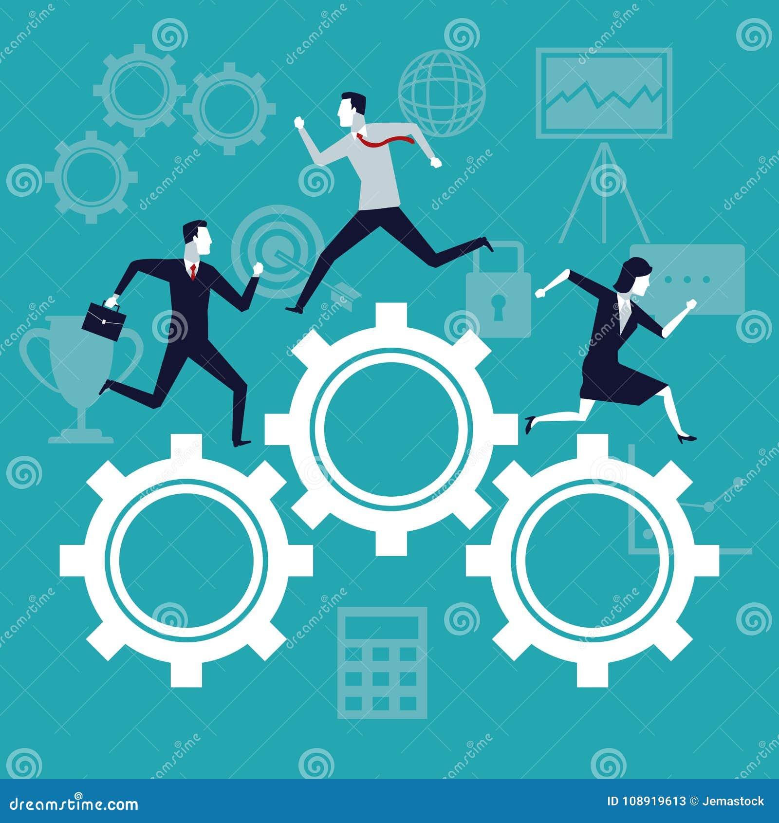 Покрасьте рост дела предпосылки при бизнесмены бежать в шестернях механизма