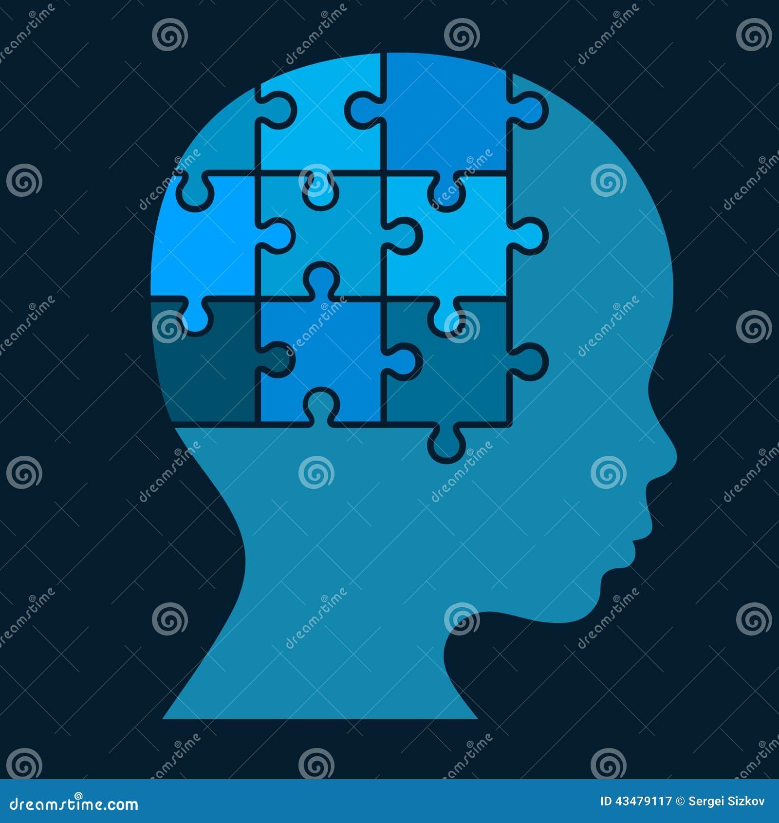 Покрасьте силуэт человеческой головы головоломки вектор