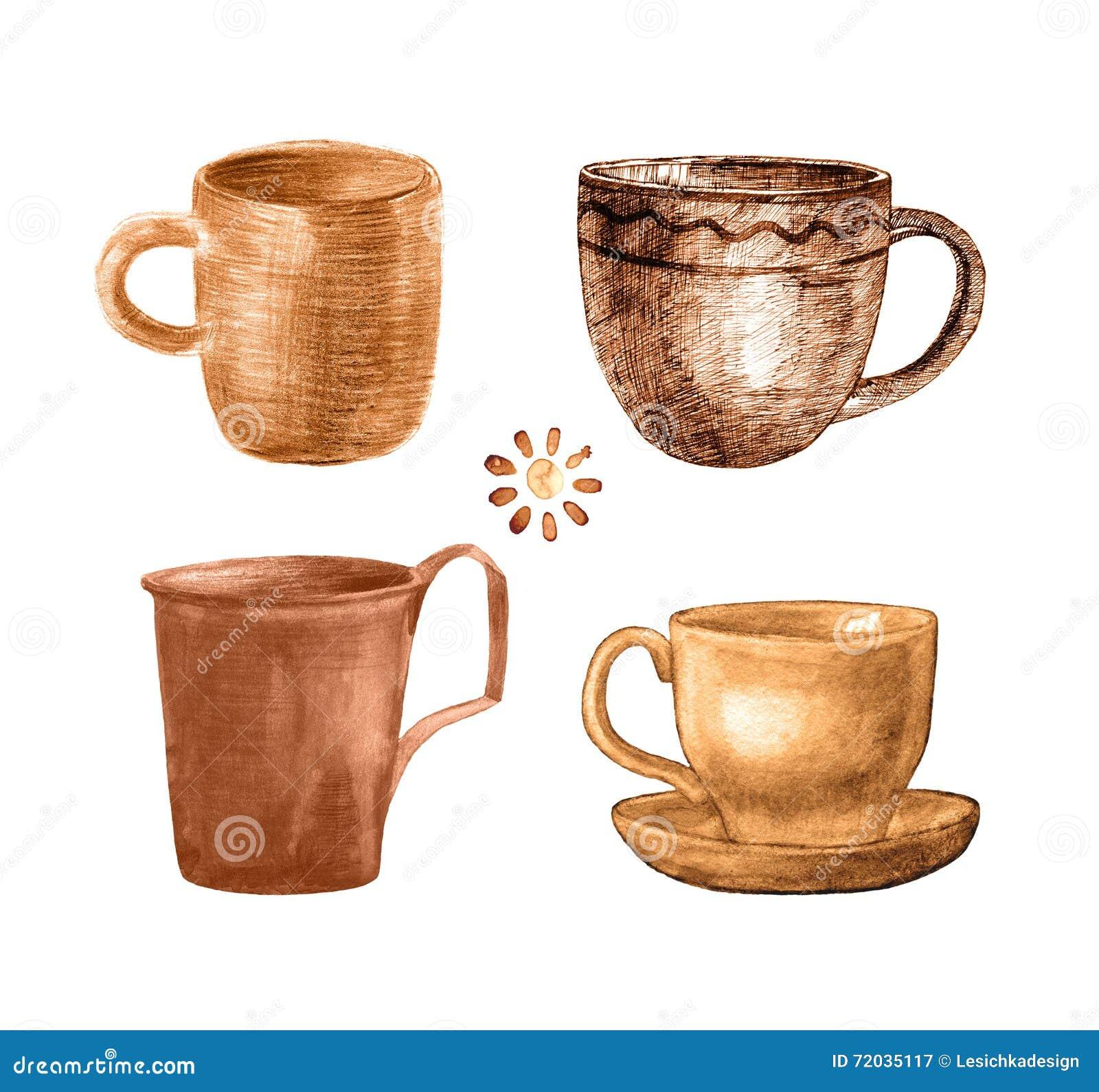 Покрашенная кофейная чашка установила