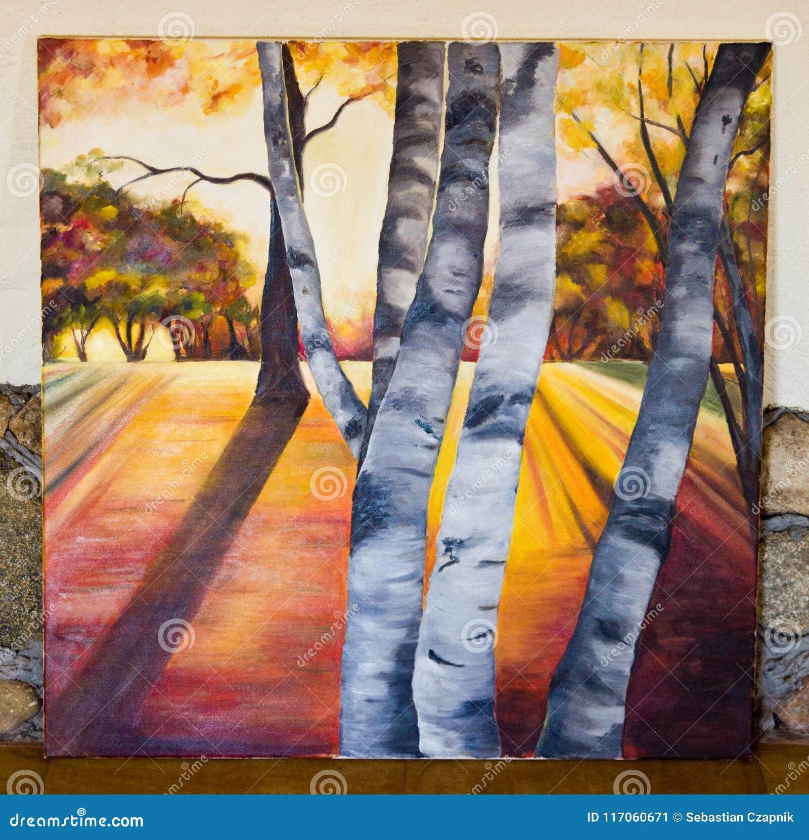 Покрашенное художественное произведение - лес деревьев березы на холсте