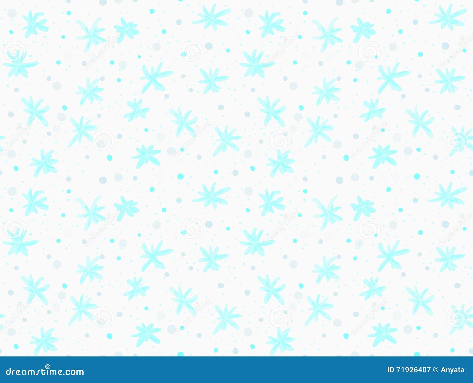 Покрашенные голубые снежинки с точками