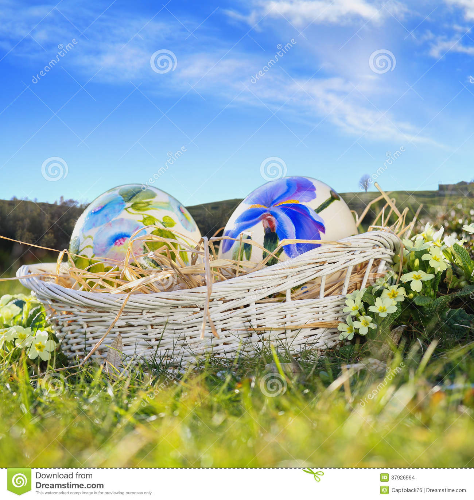 Покрашенные пасхальные яйца и голубое небо