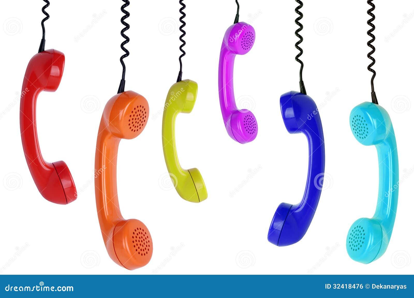 6 покрашенных висеть телефонов
