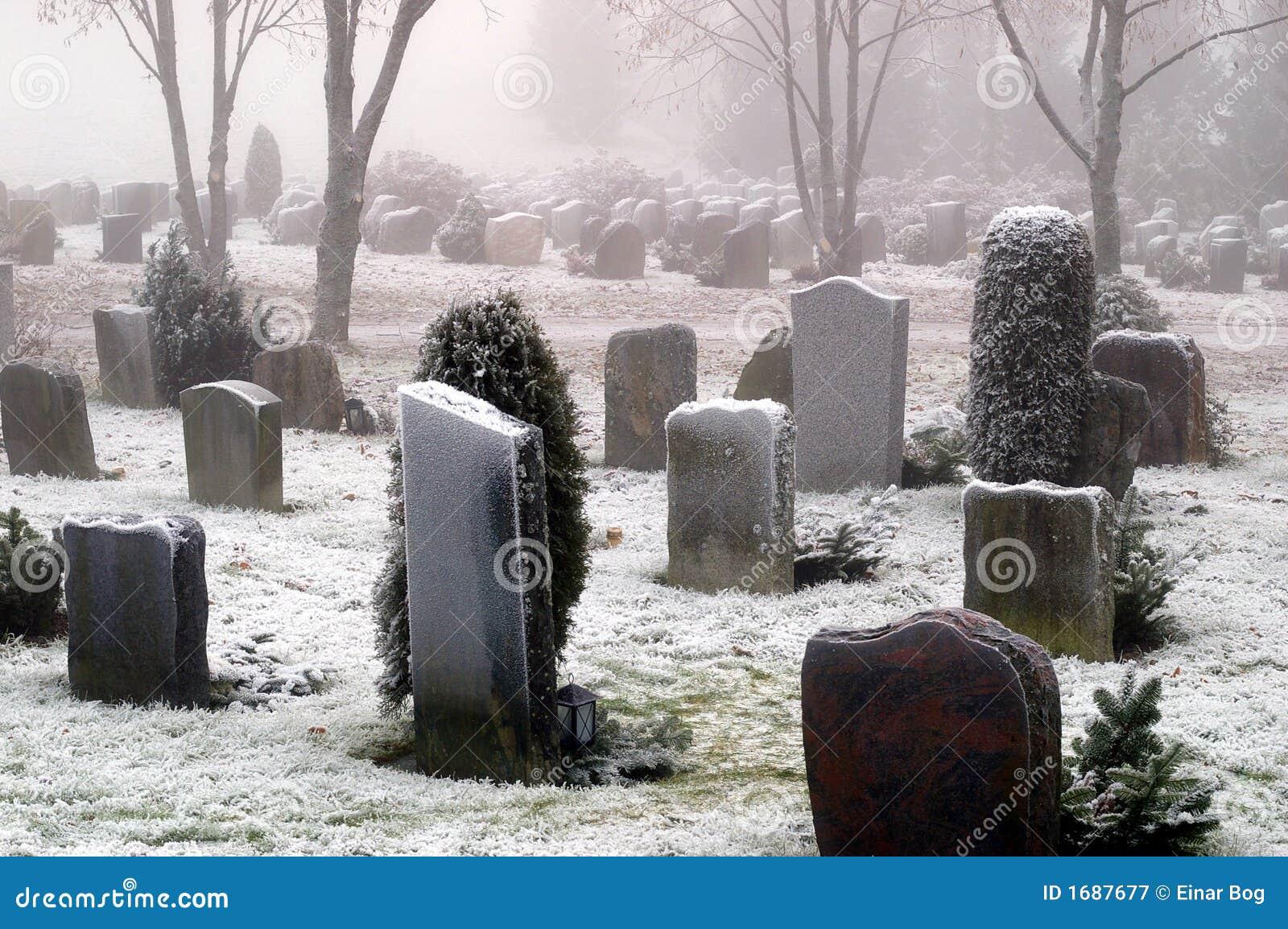 покрытый снежок могил