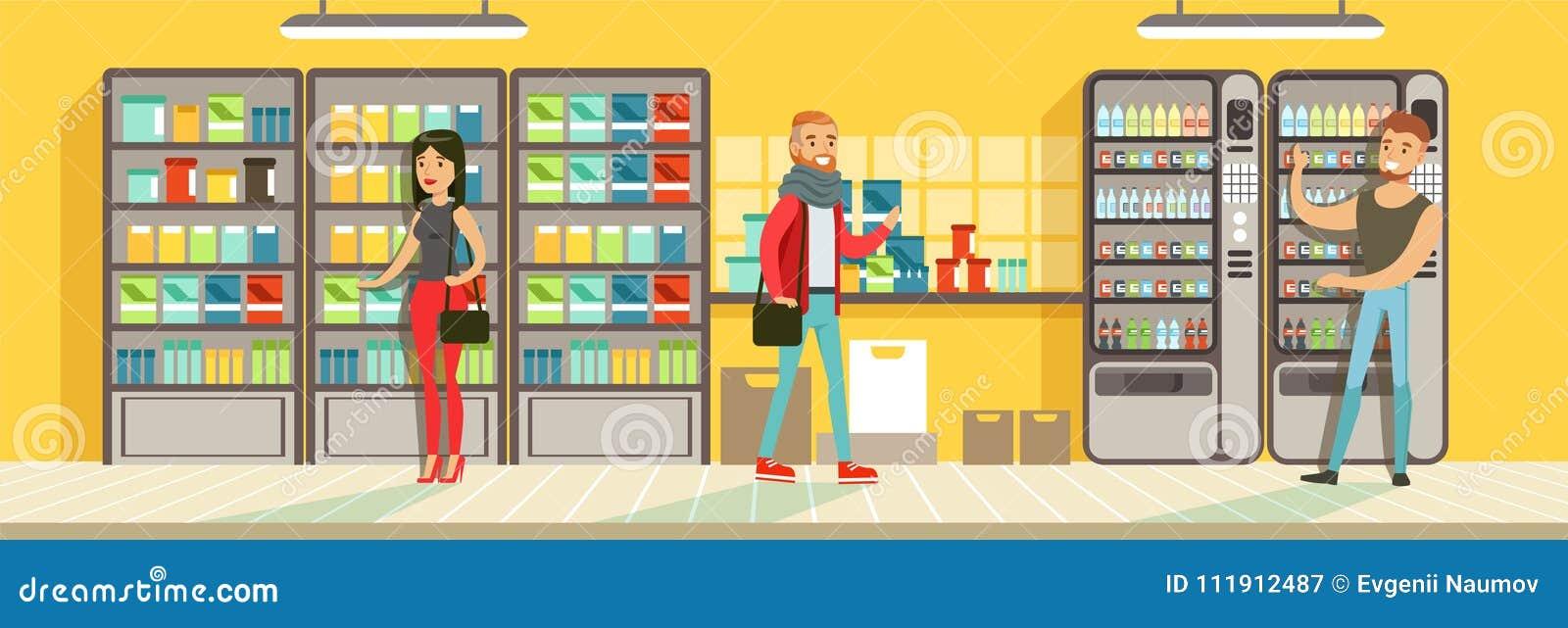 Покупатели делая приобретение в супермаркете, витринах магазина с пить, вектором дизайна интерьера супермаркета горизонтальным