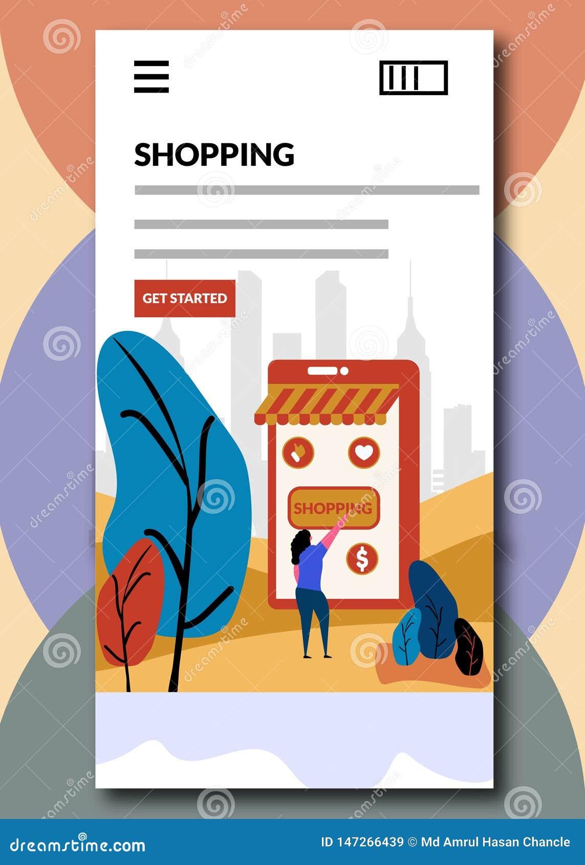 Покупки на всходя на борт иллюстрации вектора экранов онлайн ходя по магазинам