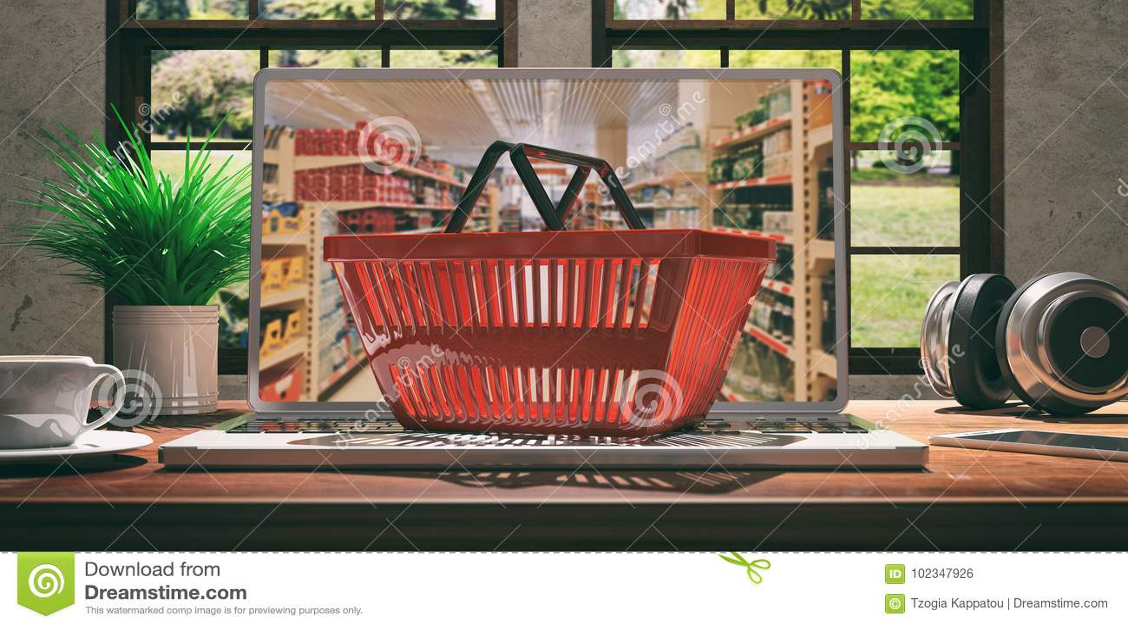 Покупки супермаркета онлайн Корзина для товаров на компьтер-книжке иллюстрация 3d