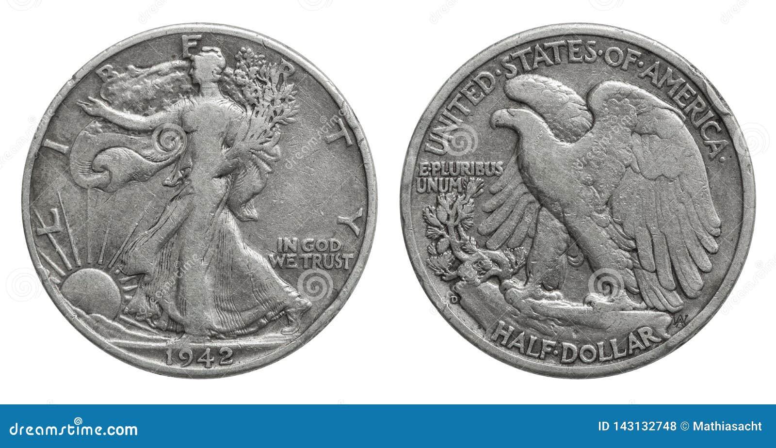 Полдоллара США серебряная монета 1942 50 центов