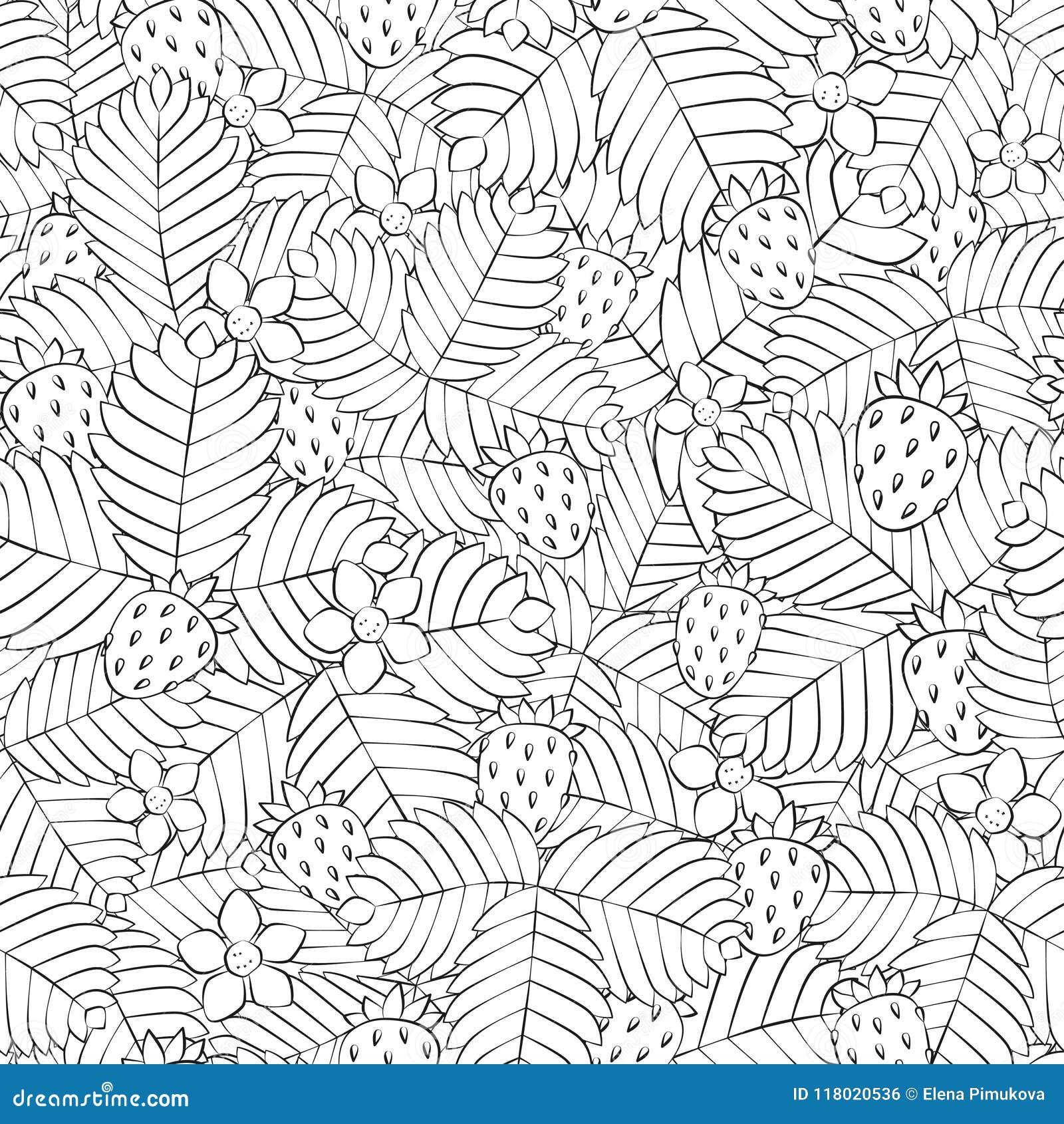 Поле одичалой клубники леса картина безшовная вычерченная рука линейно