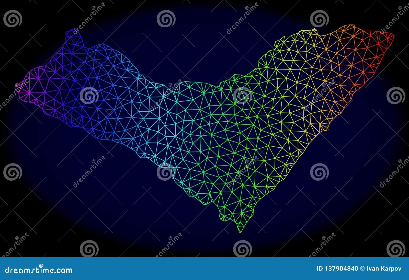Полигональная 2D карта вектора сетки радуги государства Alagoas