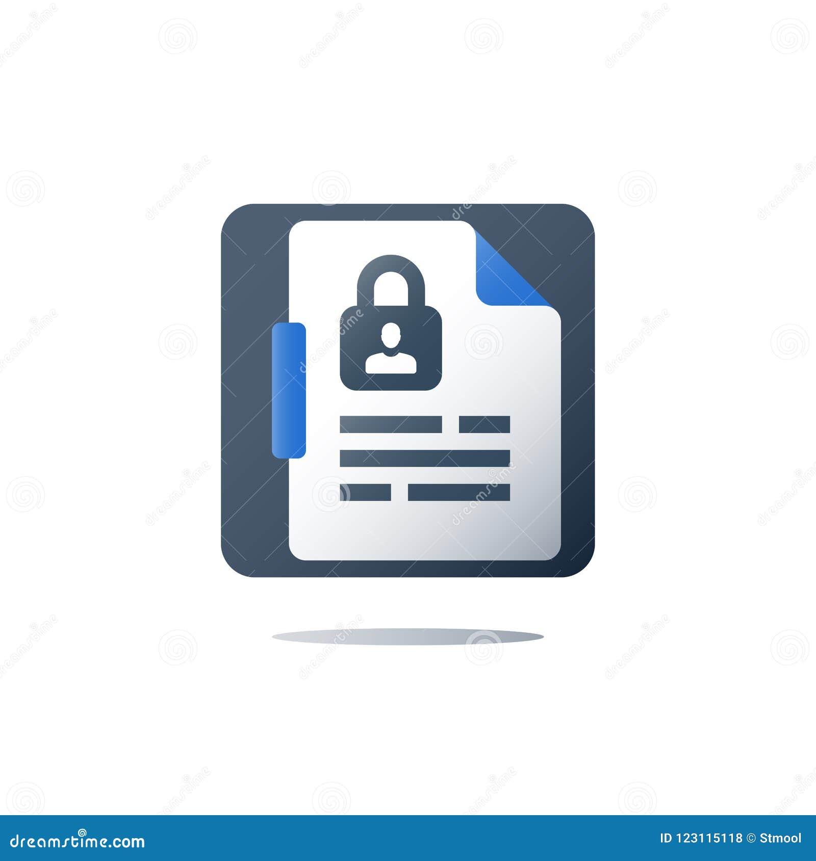 Политика уединения, личная безопасность данных, концепция GDPR, значок вектора