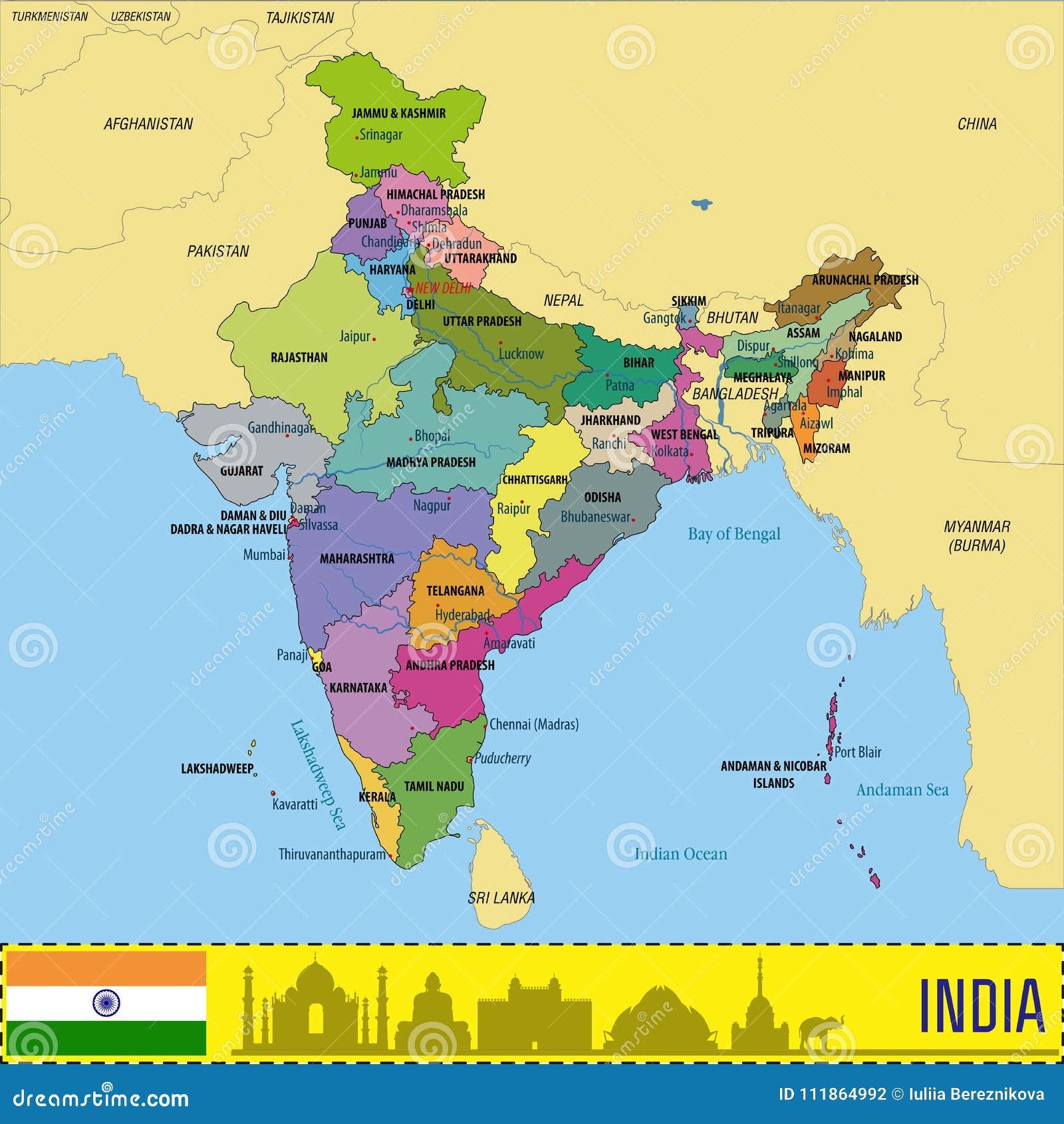 Politicheskaya Karta Vektora Indii Illyustraciya Vektora Illyustracii