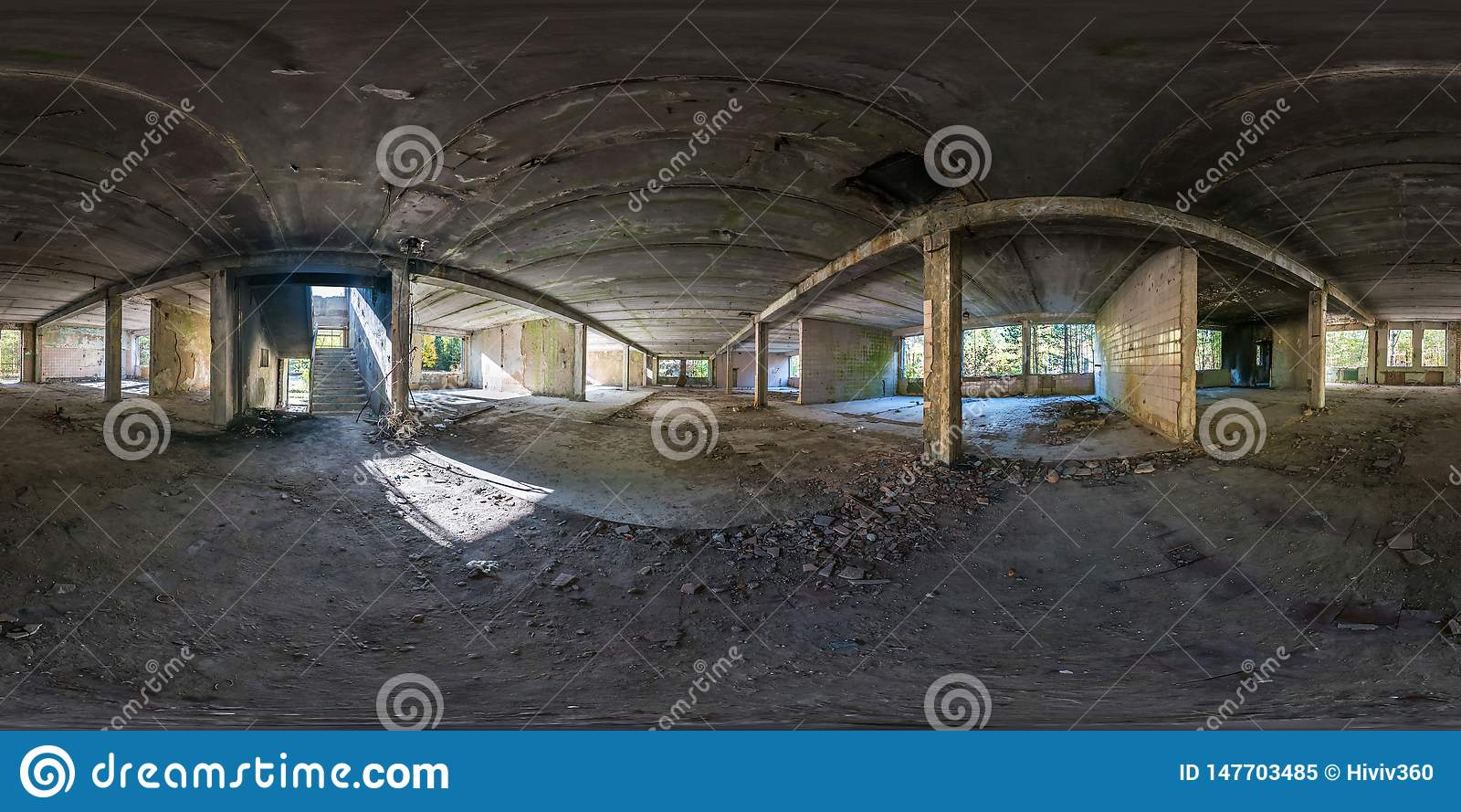 Полностью сферически безшовная панорама бетонные конструкции взгляда угла 360 градусов отказалась от незаконченного здания r