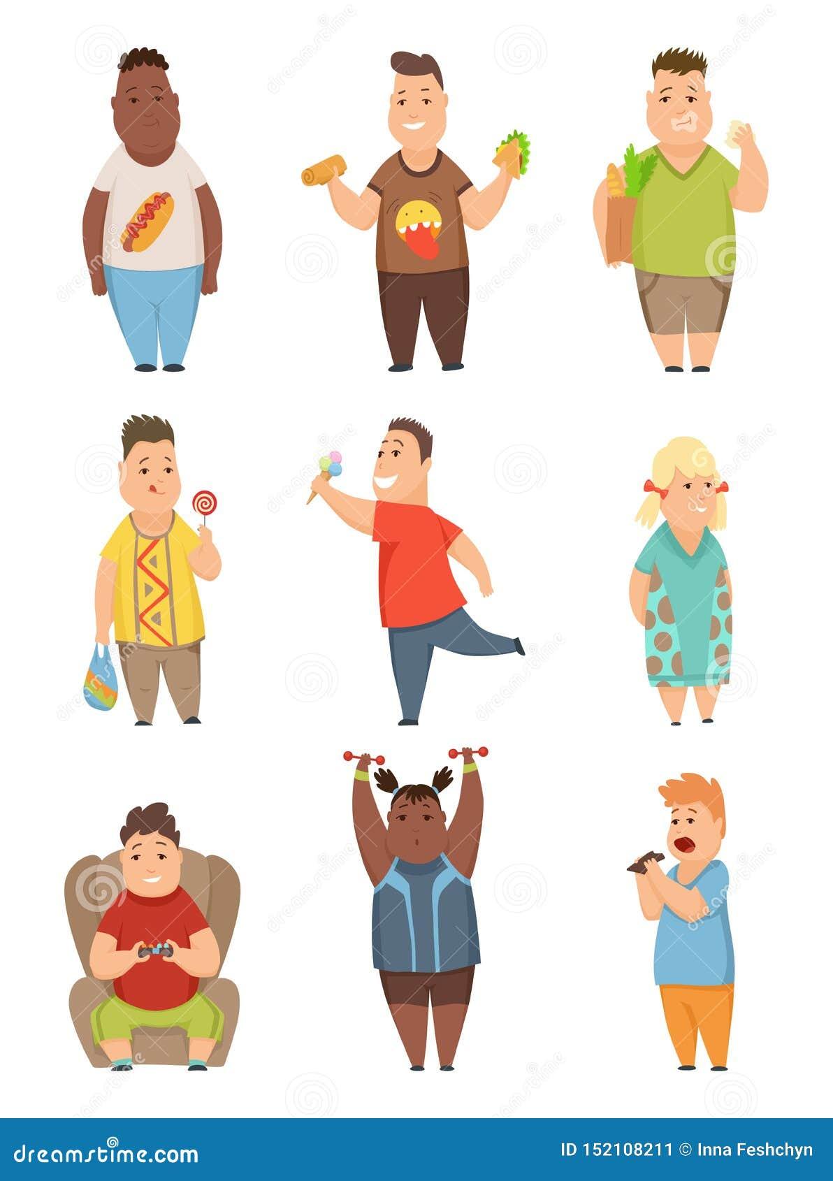 Полный набор мальчиков и девушек, милые пухлые персонажи из мультфильма детей есть иллюстрацию вектора фаст-фуда на белом