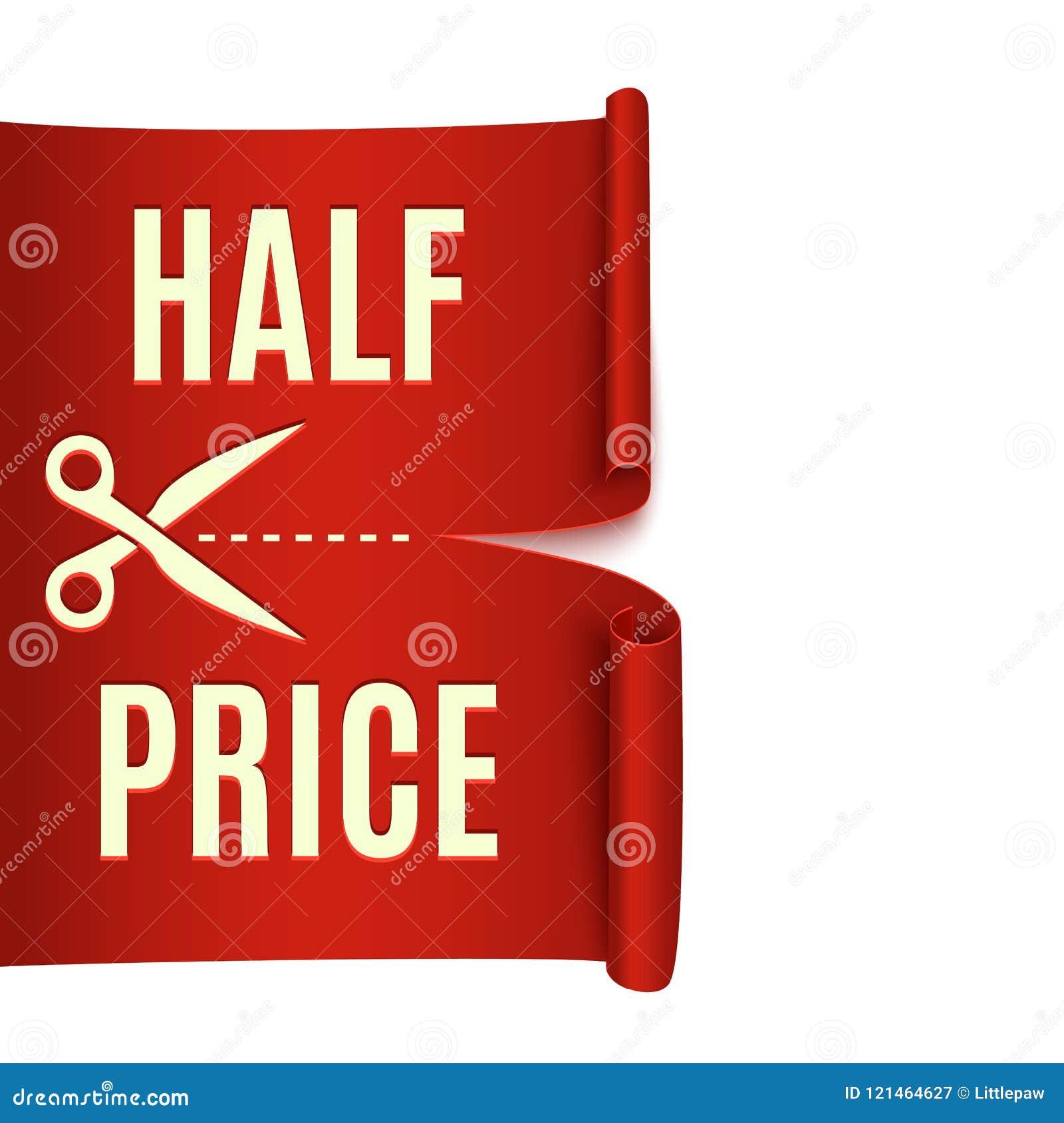 d361c01f693bcc Половинная скидка цены, красная реалистическая лента, реклама, большая  продажа, иллюстрация вектора