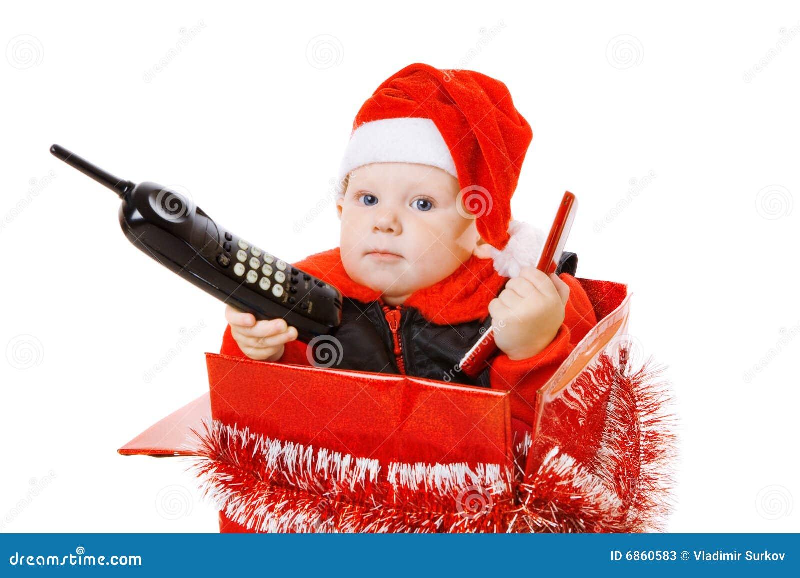 положите вызывать в коробку телефон младенца рождества