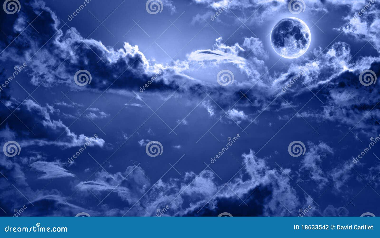 польностью освещенное небо ночи луны романтичное