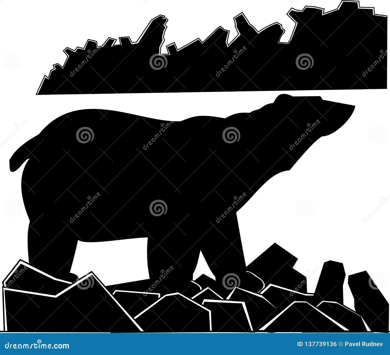 Полярный медведь черно-белого изображения вектора сиротливый на каменистом побережье