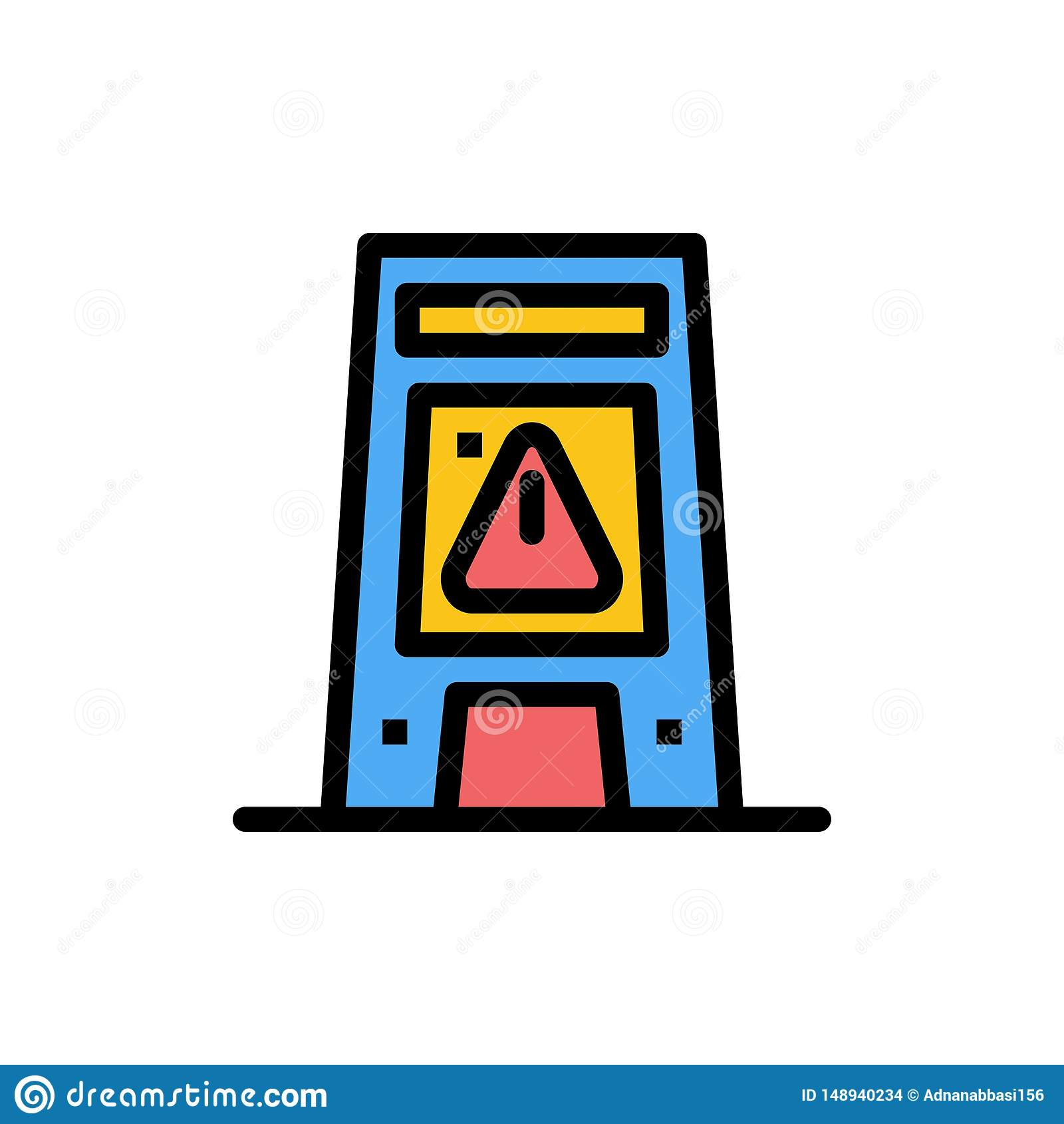 Пол, сигнал, сигнализируя, предупреждение, влажный плоский значок цвета Шаблон знамени значка вектора