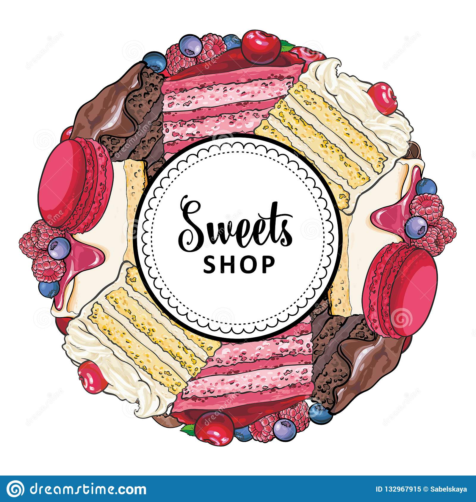 Помадки ходят по магазинам знамя с тортами и печеньями украшенными с ягодами