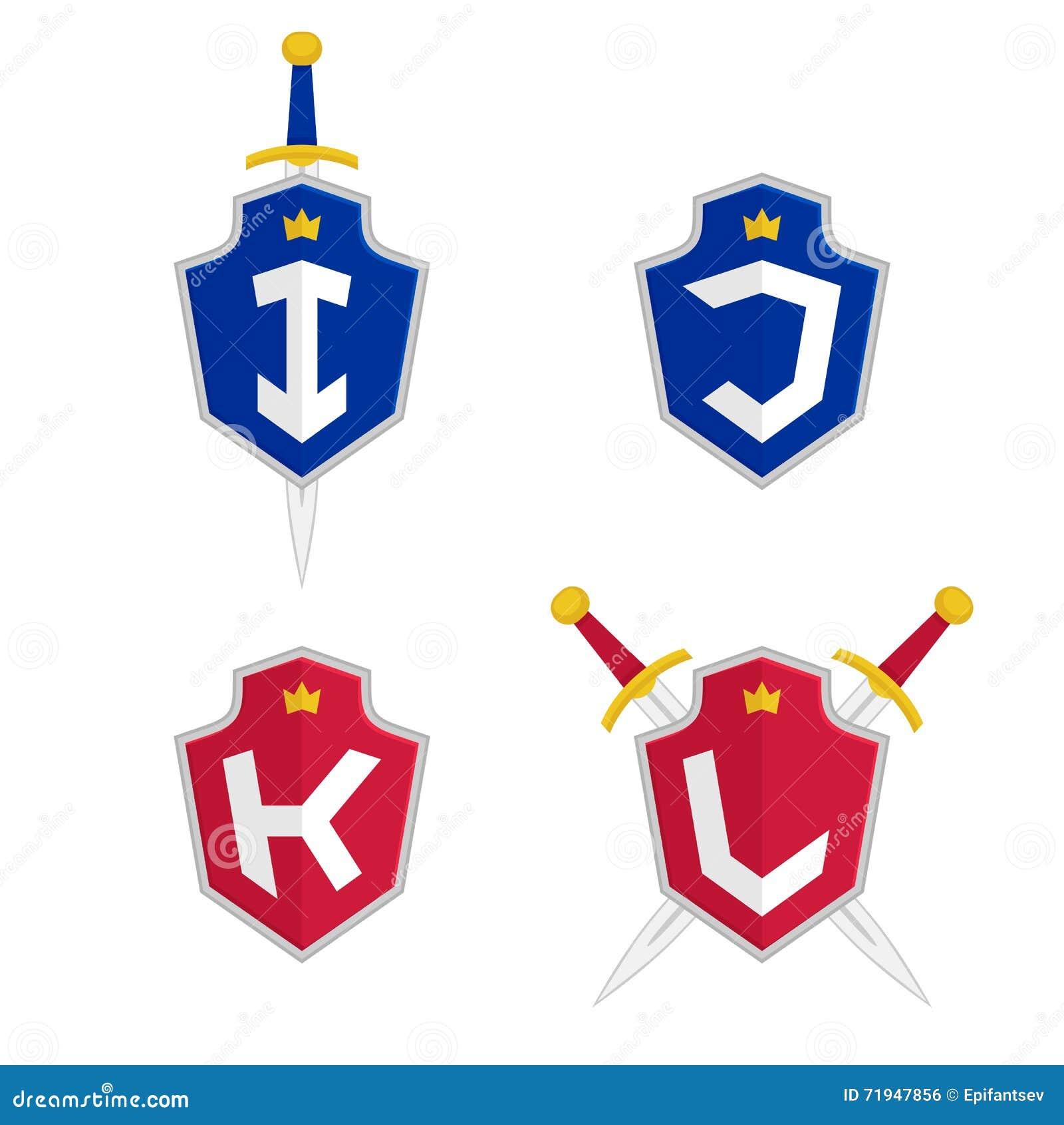 Пометьте буквами I, j, k, l шаблоны логотипа вектора Логотип письма с экраном и шпагой