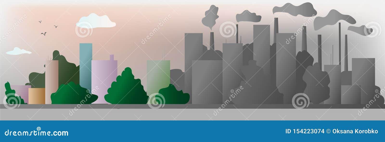 Помощь города экологичности серого цвета и цвета мир с дружественными к эко идеями концепции, иллюстрация вектора