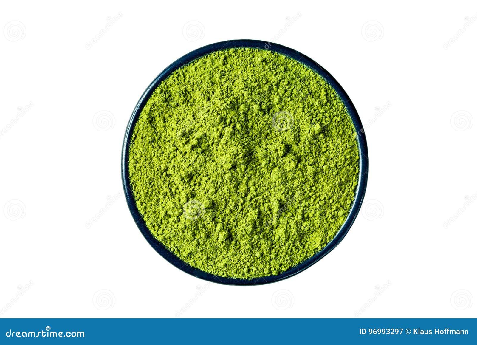 Порошок изолированный на белизне, путь зеленого чая Matcha клиппирования включает
