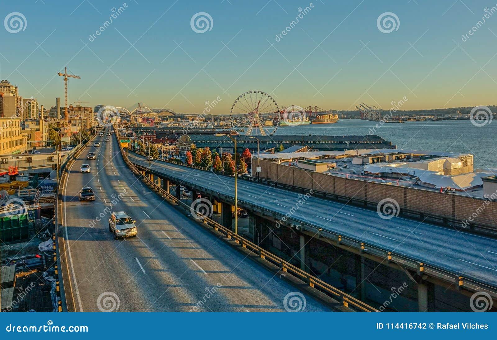 Портовый район в городе Сиэтл