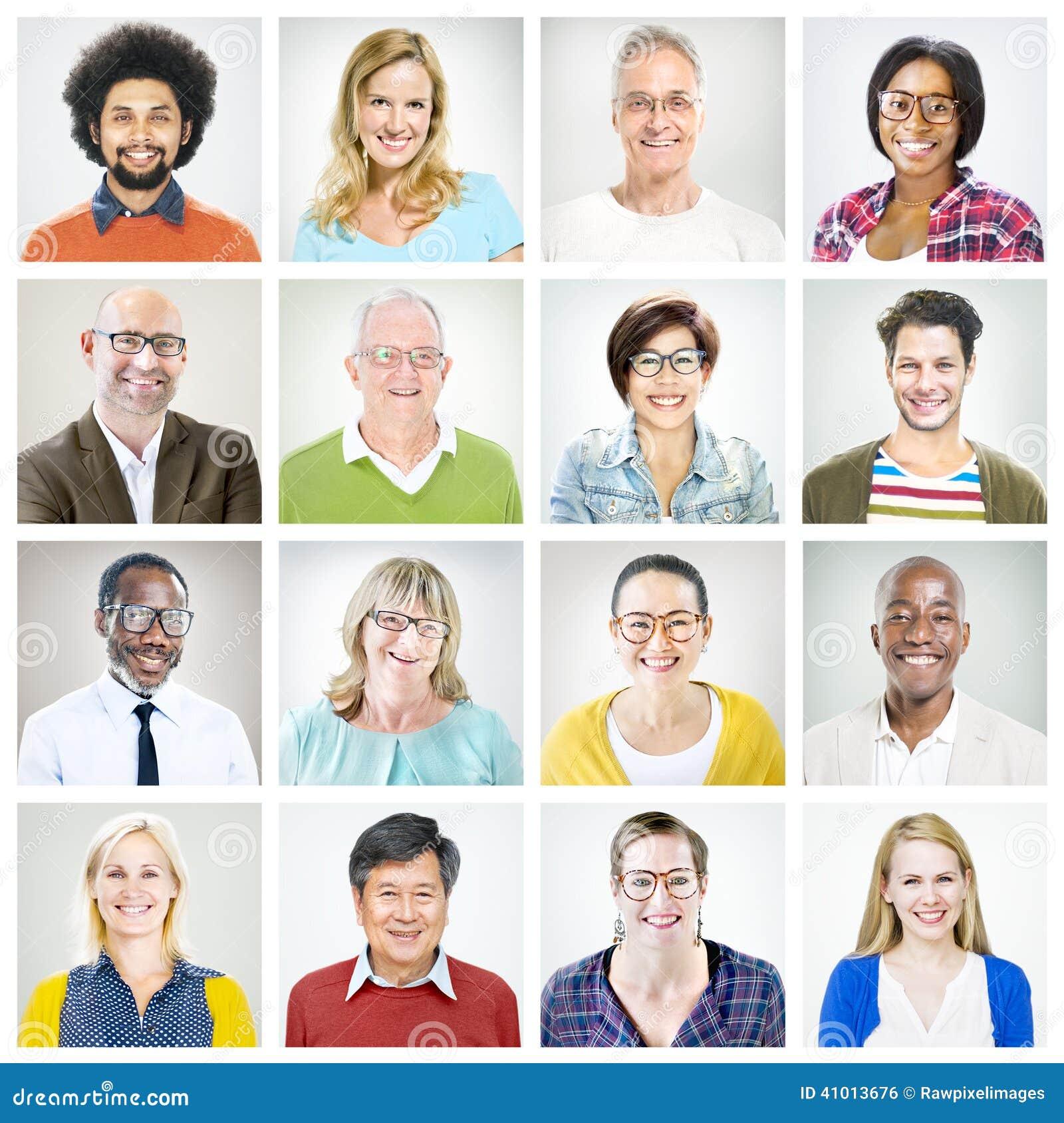 Портреты многонациональных разнообразных красочных людей