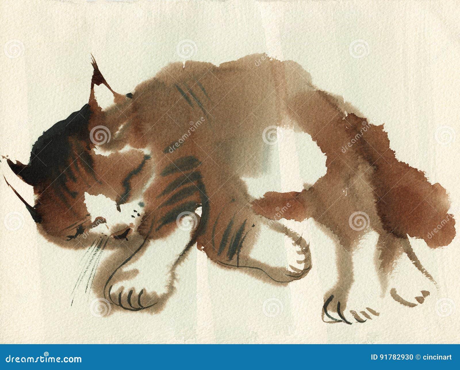 Нарисованный пушистый кот