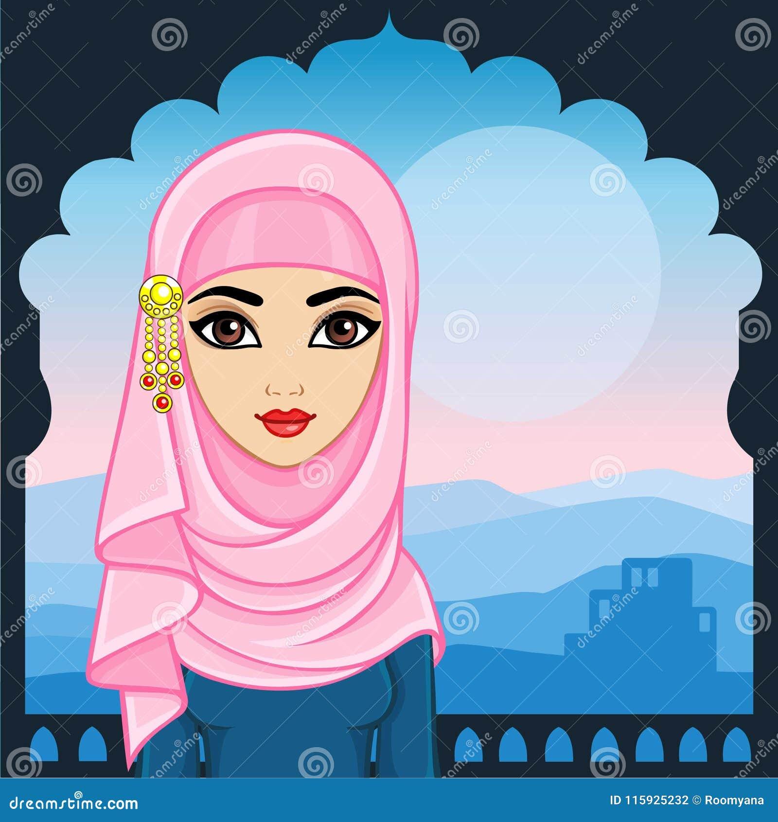 Портрет анимации арабской женщины в традиционных одеждах