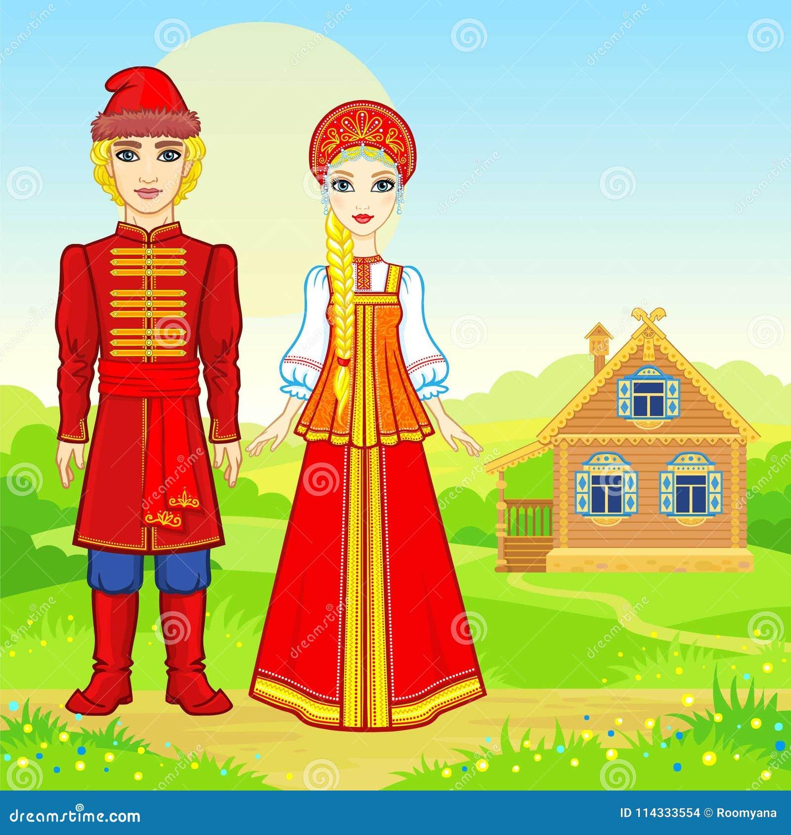 Портрет анимации красивой русской семьи в традиционных одеждах Характер сказки