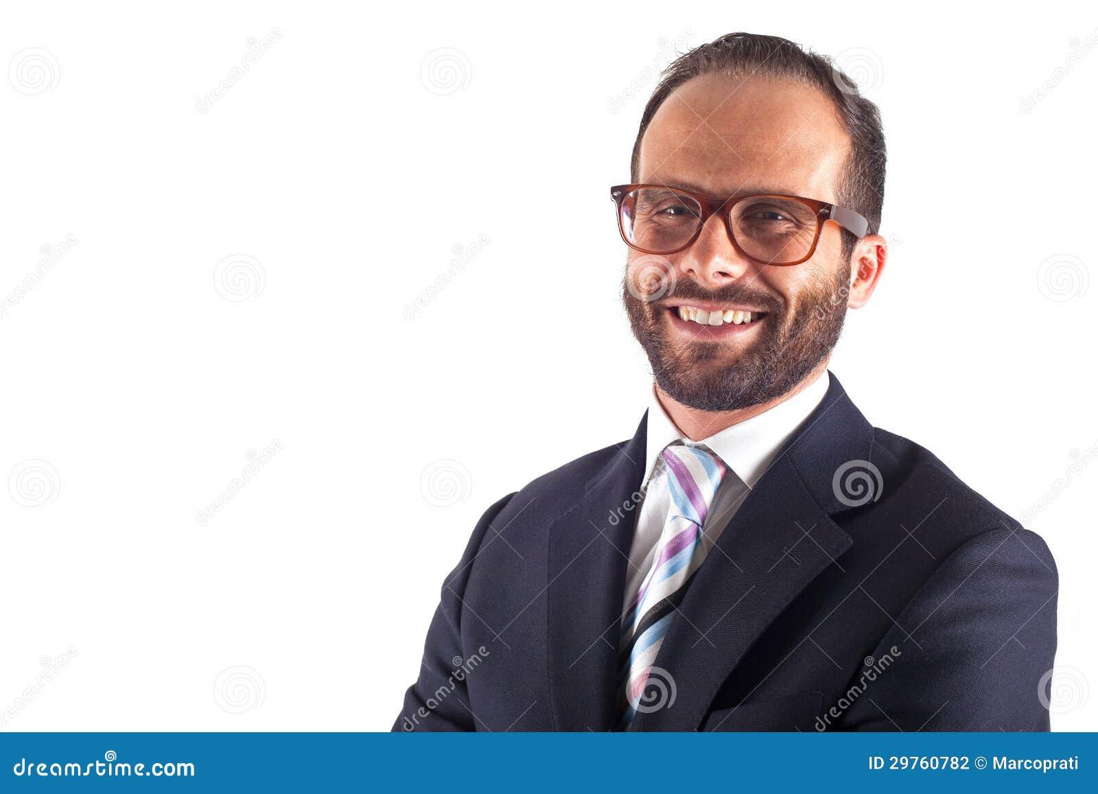Портрет бизнесмена изолированного на белой предпосылке. Студия