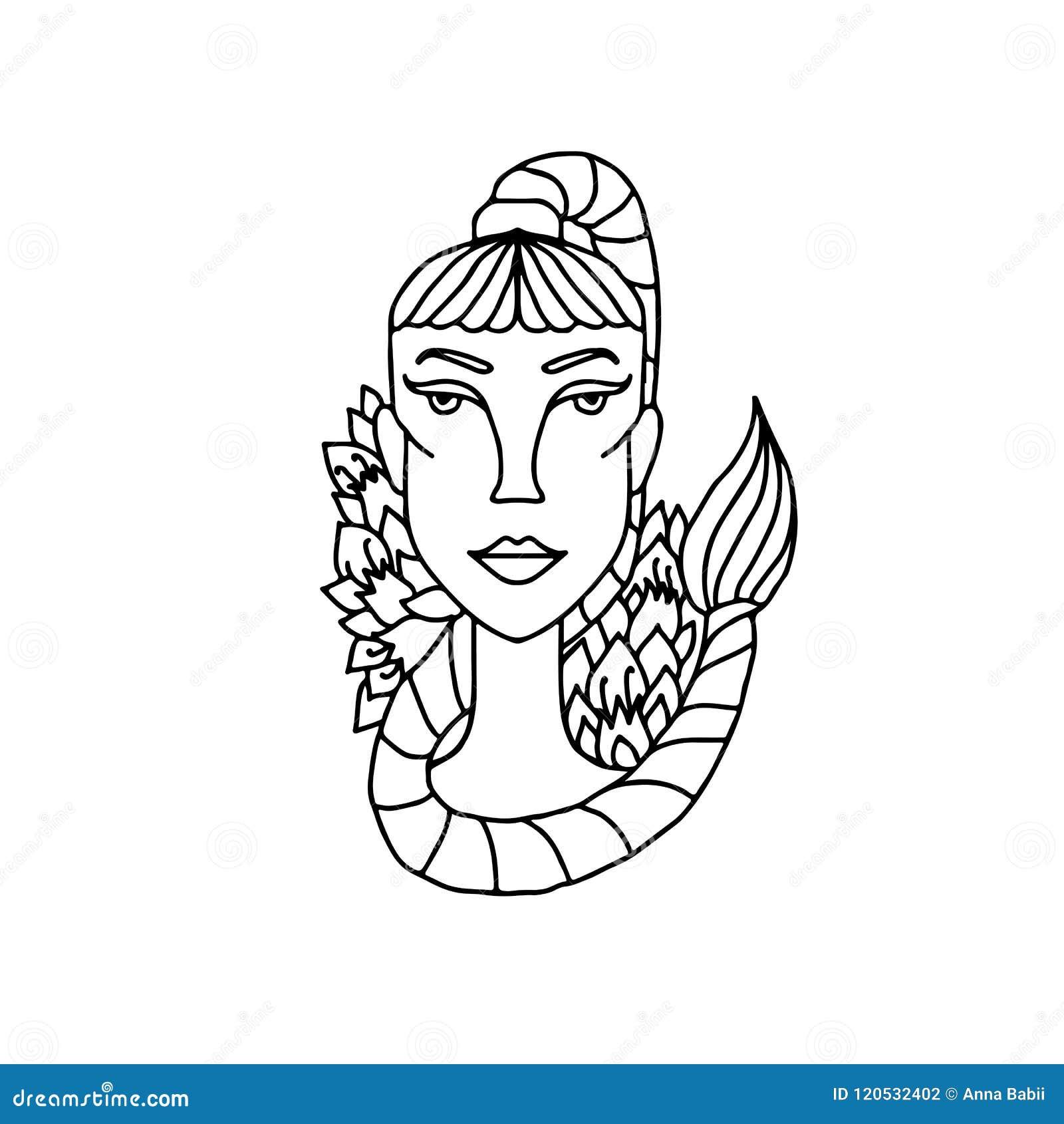 портрет девушки Scorpio знак зодиака для взрослой книжка