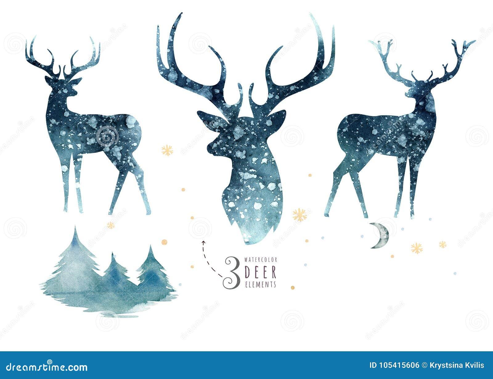 Портрет крупного плана акварели голубых оленей белизна изолированная предпосылкой Нарисованная рукой иллюстрация индиго рождества