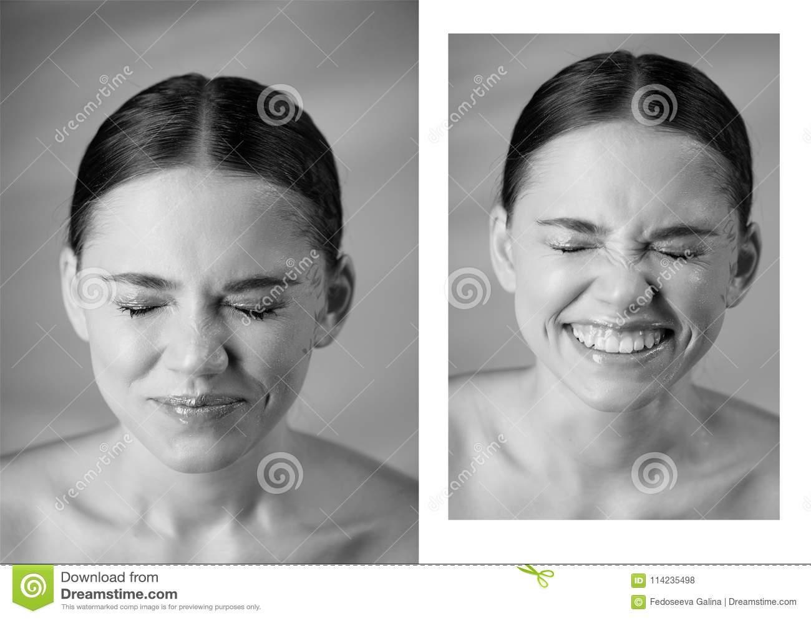 Портрет молодой красивой девушки в студии, с профессиональным составом Стрельба красоты эмоциональный портрет нос сморщил