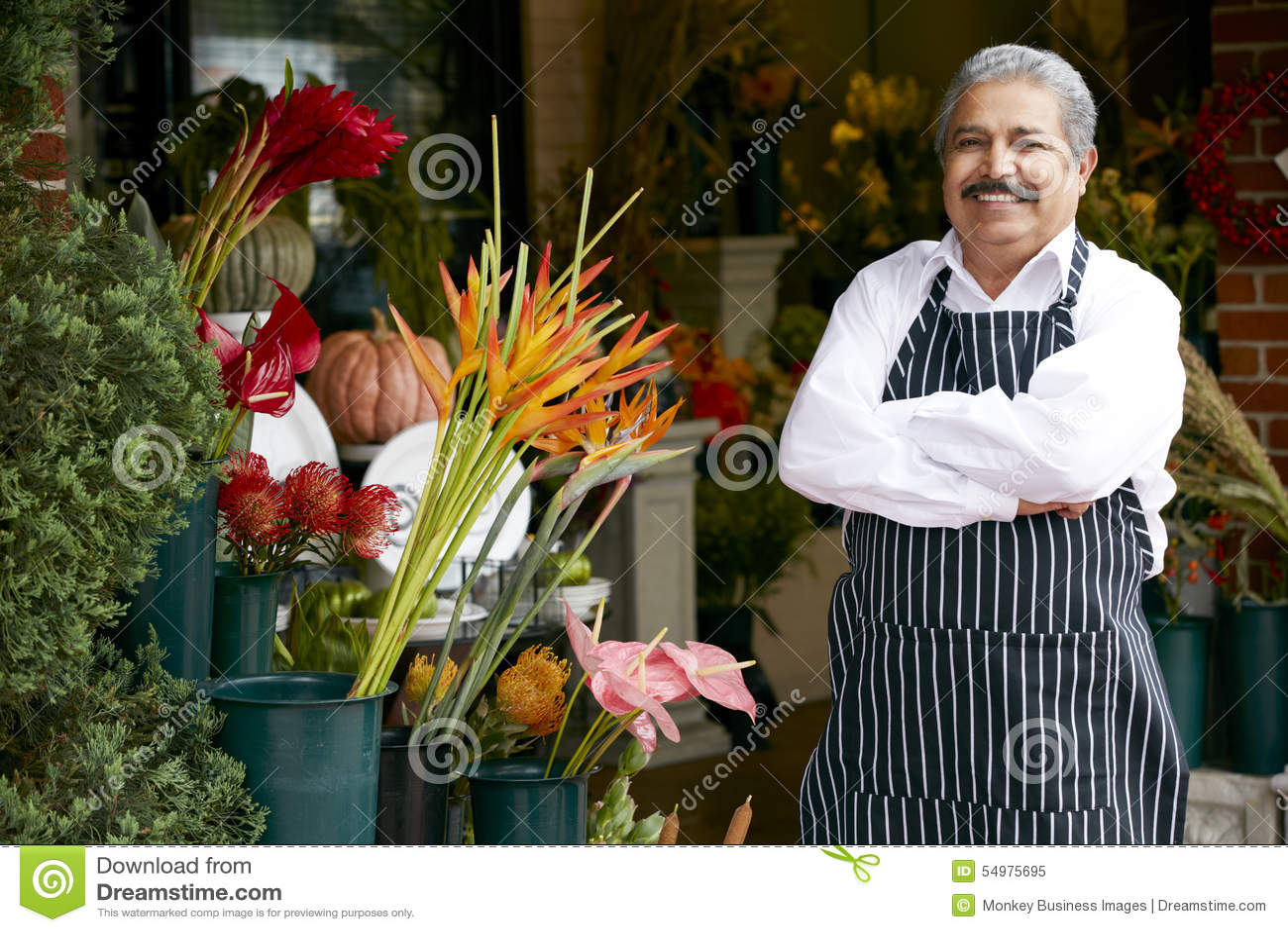 Портрет мужского магазина снаружи флориста