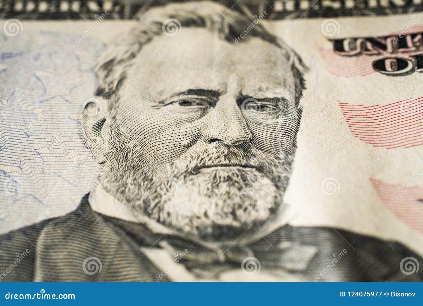 Портрет президента Улисс Грант США на макросе 50 долларовых банкнот весьма, 50 usd
