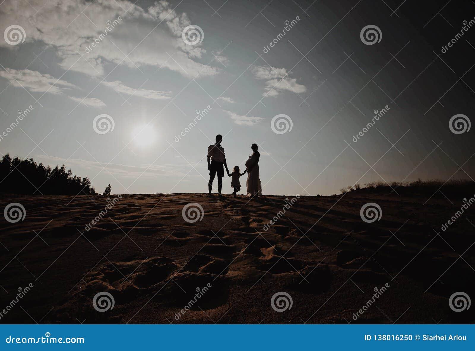 Портрет силуэта красивой молодой семьи в ожидании newborn Человек и женщина стоя лицом к лицу с их