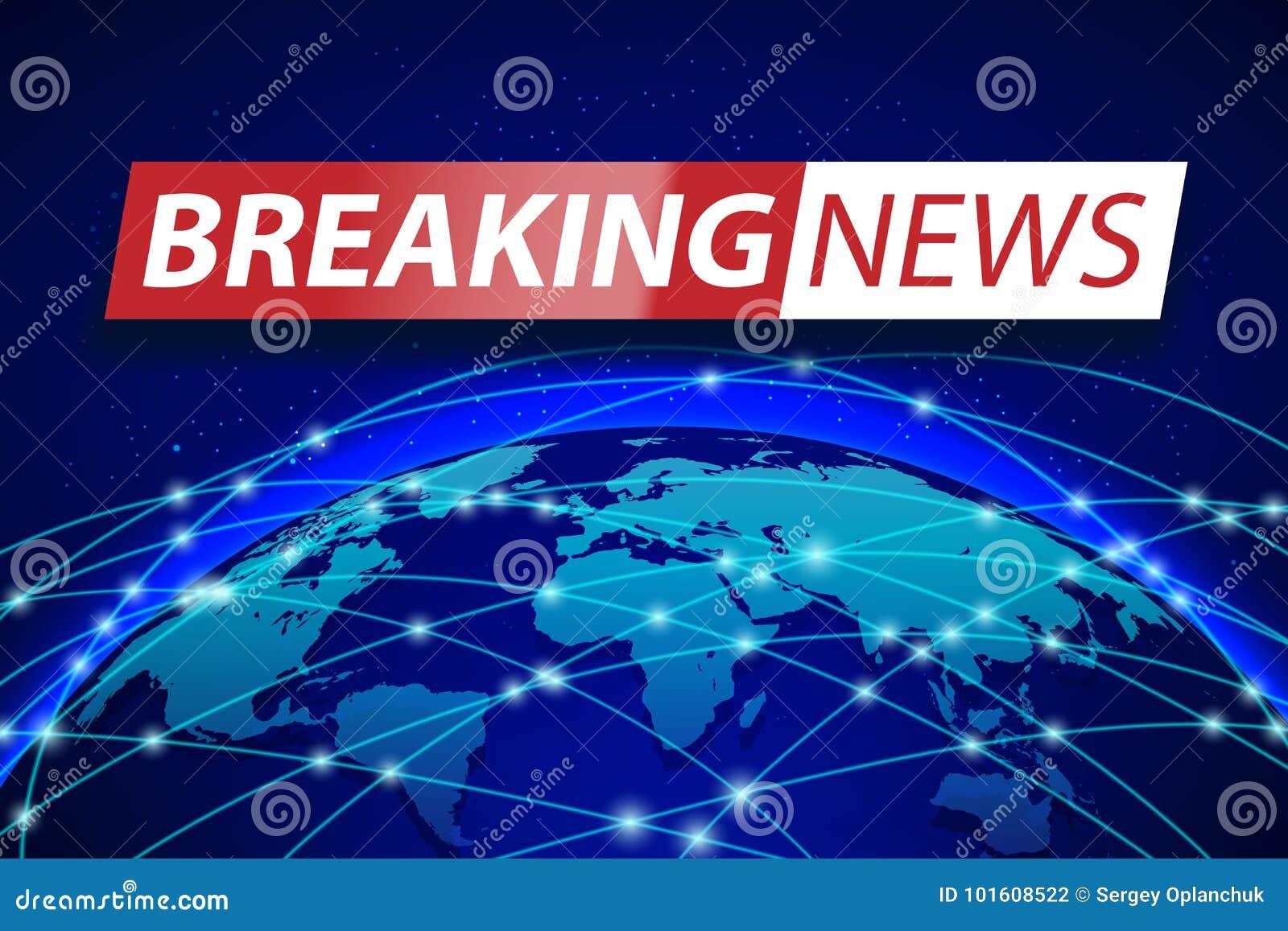 Последние новости в реальном маштабе времени на голубой предпосылке карты мира Дизайн знамени концепции технологии дела Иллюстрац