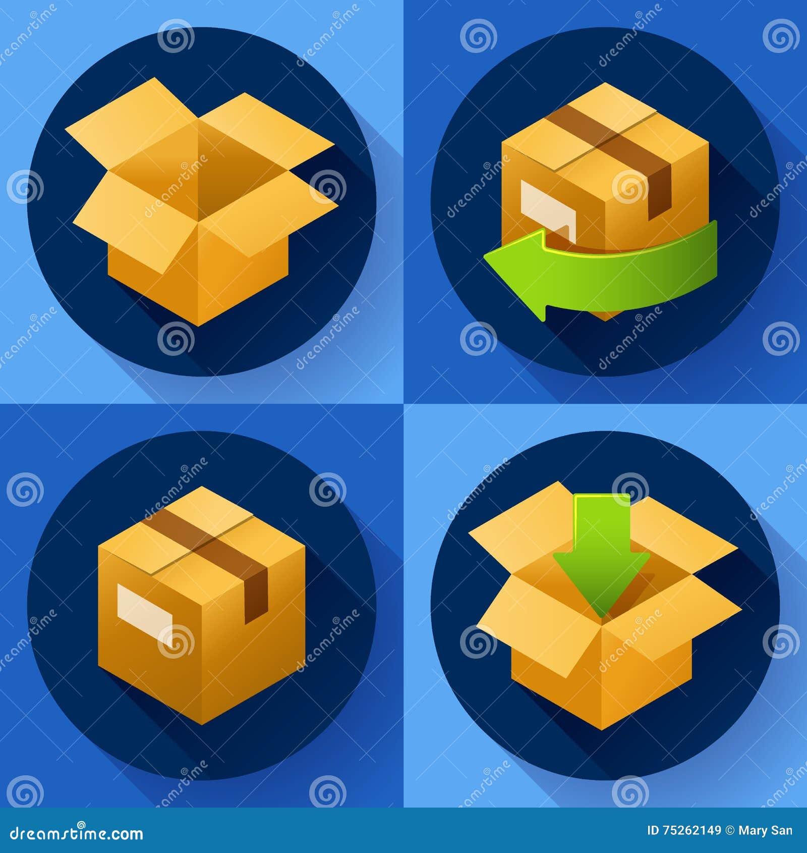 Поставка и свободно возвращение подарков или пакетов Значок концепции доставки для магазина