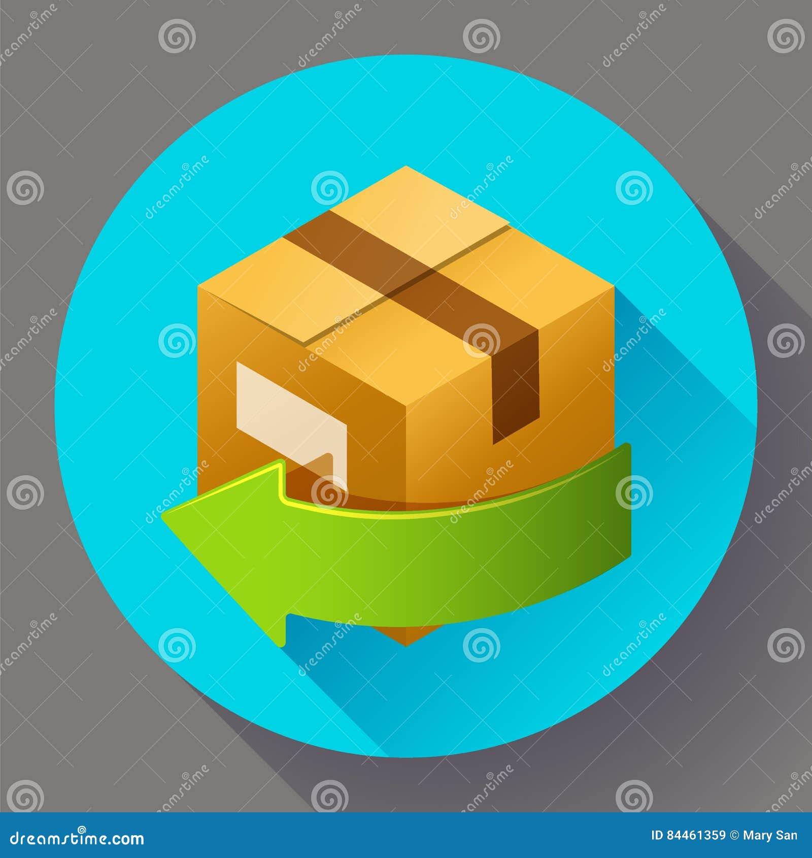 Поставка и свободно возвращение подарков или пакетов Значок доставки для магазина интернета