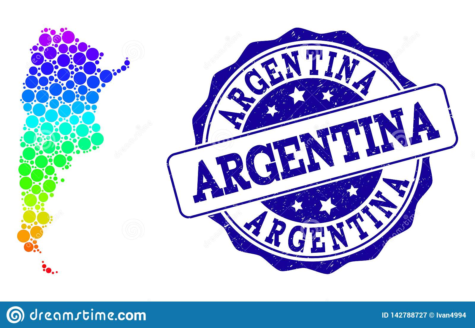 Поставленная точки карта радуги Аргентины и уплотнения печати Grunge