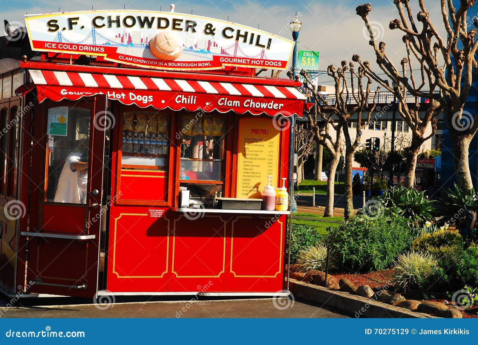Поставщик густого супа и Chili на причале рыболова, Сан-Франциско