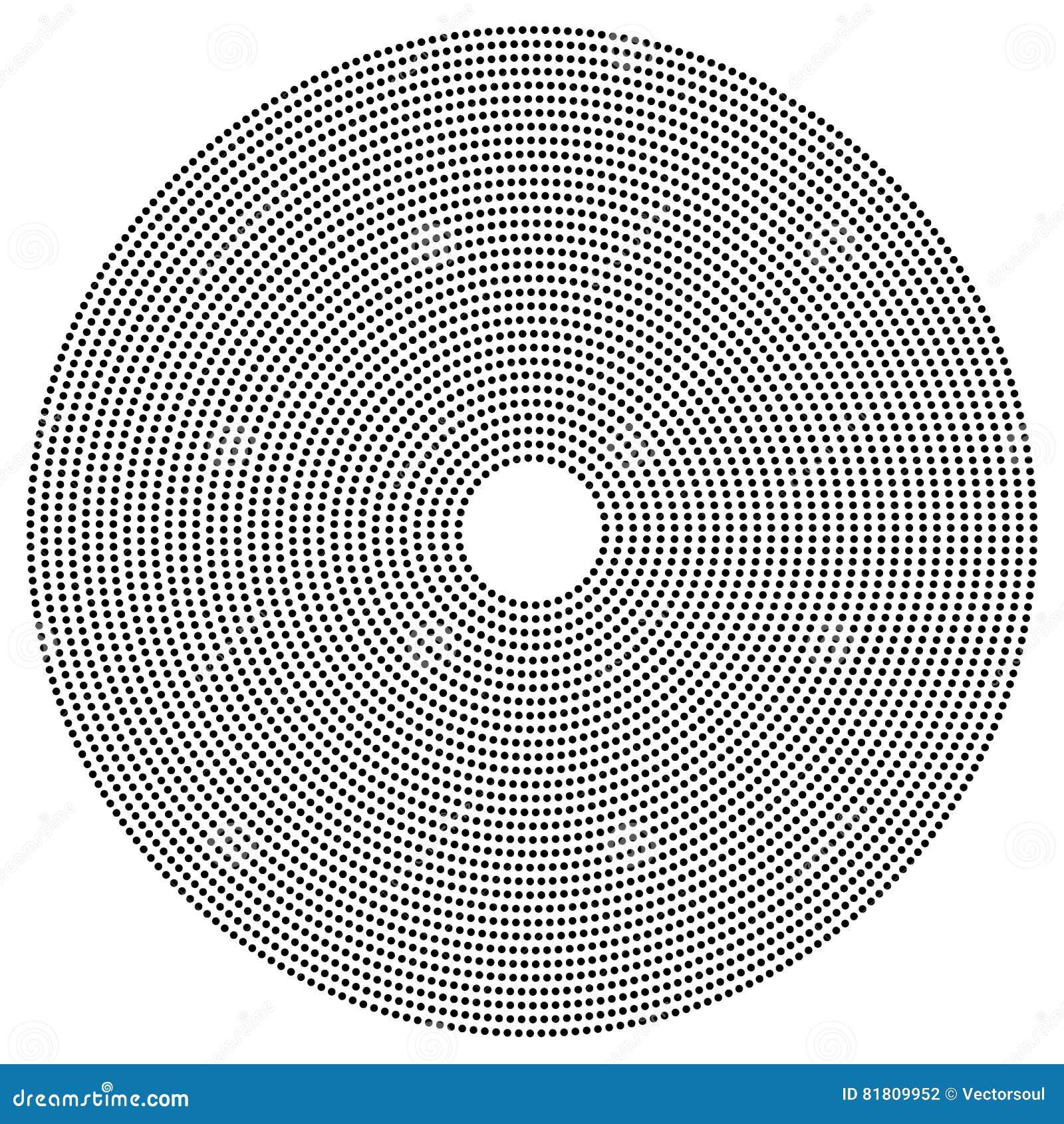 Поставленный точки круговой элемент Illustrati Mononochrome черно-белое