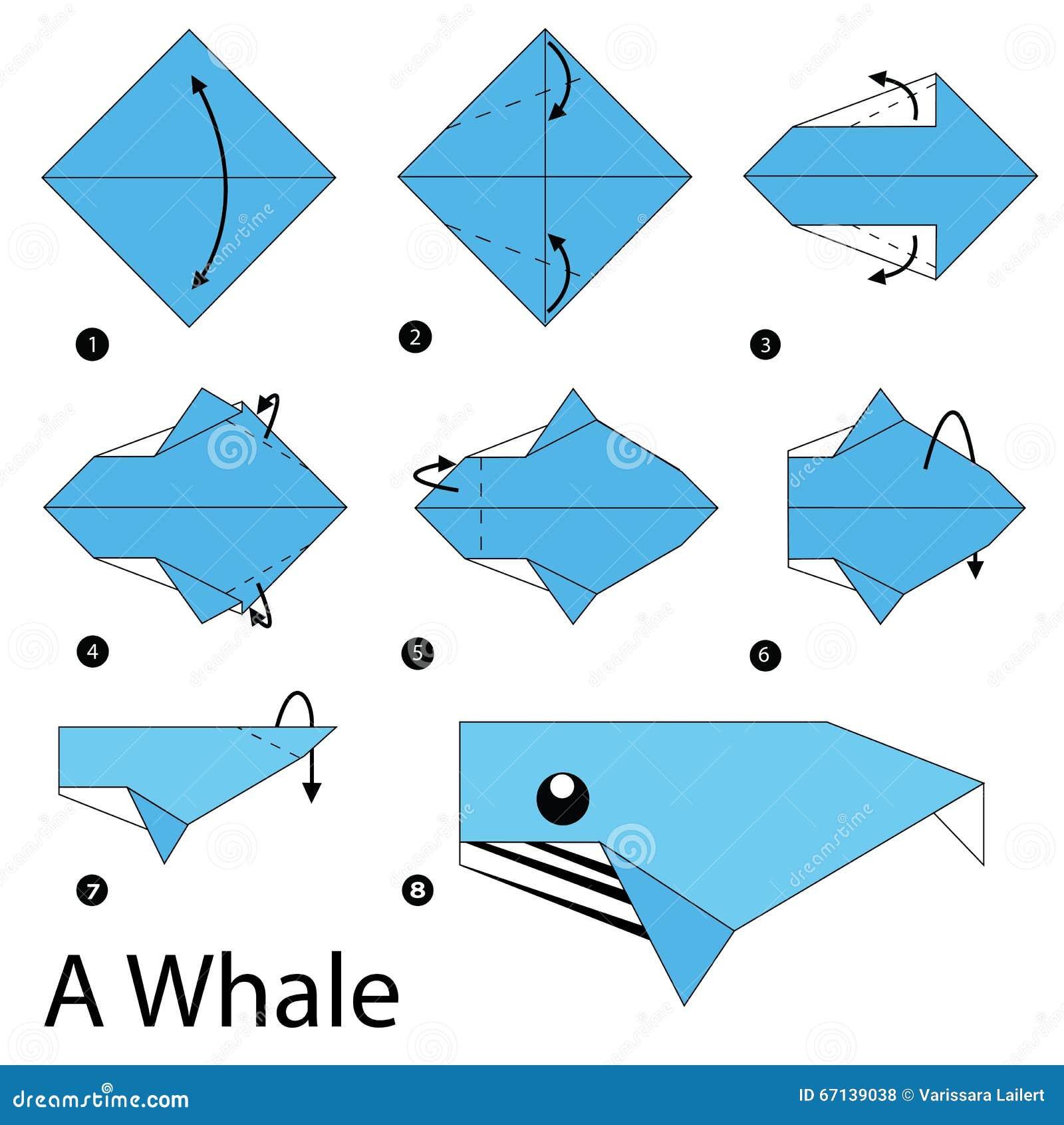 Оригами как сделать кита из бумаги