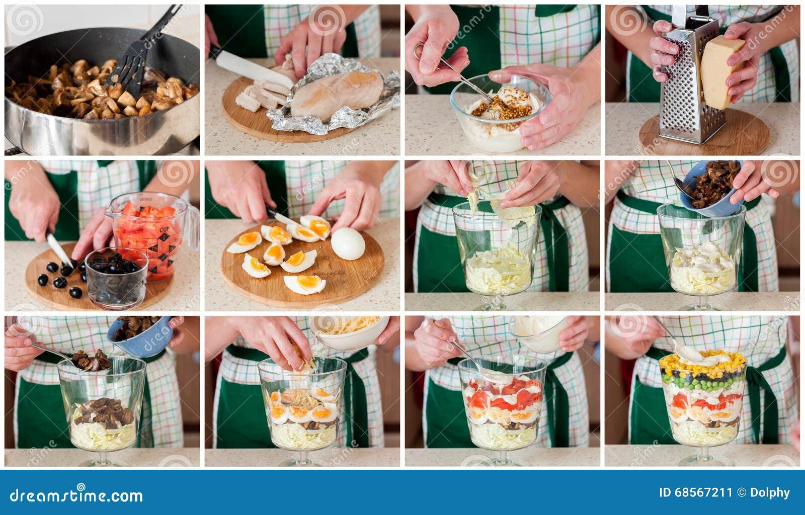 Постепенный коллаж делать наслоенный салат