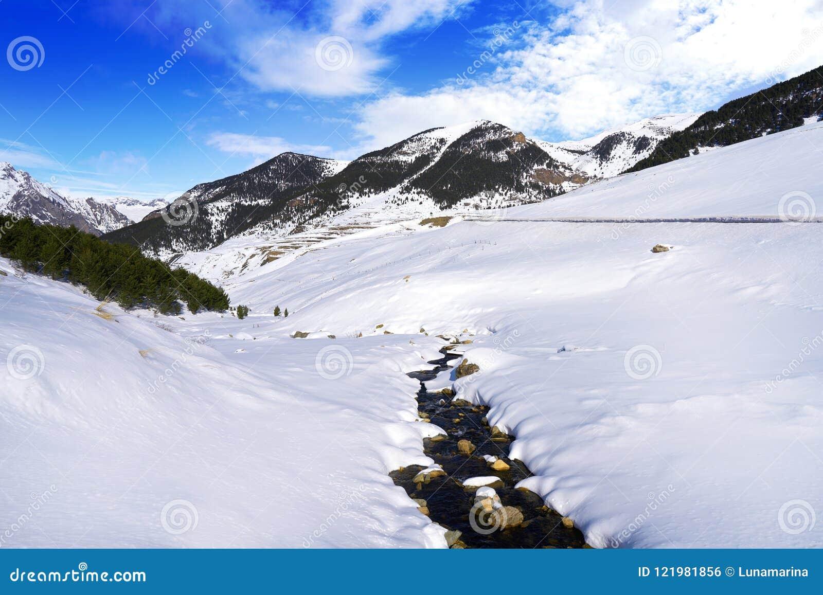Поток снега Cerler в Пиренеи Уэски Испании